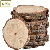 WOWOSS 12PCS Rebanadas de Madera Natural 10-12cm Con
