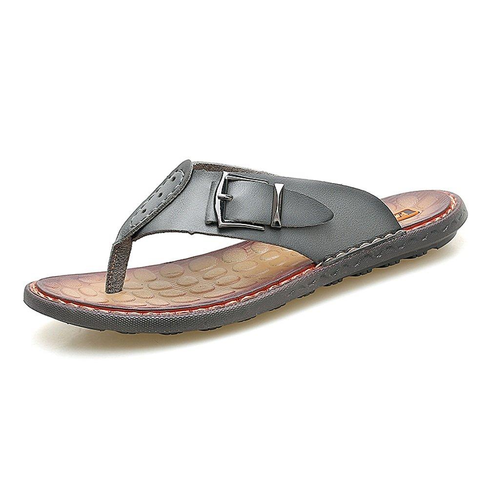 Sunny&Baby Chancletas de la Correa de los Hombres Chancletas de Playa Cuero Genuino Trabajo Hecho a Mano Superior Sandalias de la Sutura de la Suela Resistente a la Abrasión 44 EU|Gray