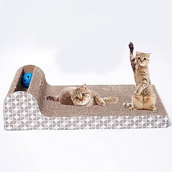 FSSJCKX rascador para gatos para mascotas, juguetes, rascador de gatos, placa grande horizontal, suministros de sofá corrugado para mascotas: Amazon.es: ...