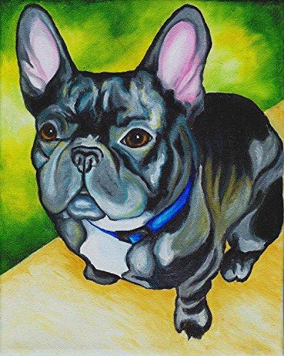 Original Dog Pop Art - Black Brindle French Bulldog Dog Signed Art Print of Original Artwork Acrylic Painting