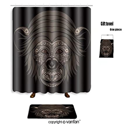 Exceptionnel Vanfan Bath Sets Polyester Rugs Shower Curtain Abstract Monkey Patterns On  A Black Backgroun Shower Curtains