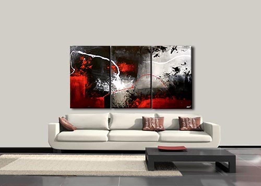 Handbemaltes 3 Stück Schwarz Weiß Rot Abstrakt Modern Öl Gemälde Auf  Leinwand Bilder Wandbild Für Wohnzimmer ...