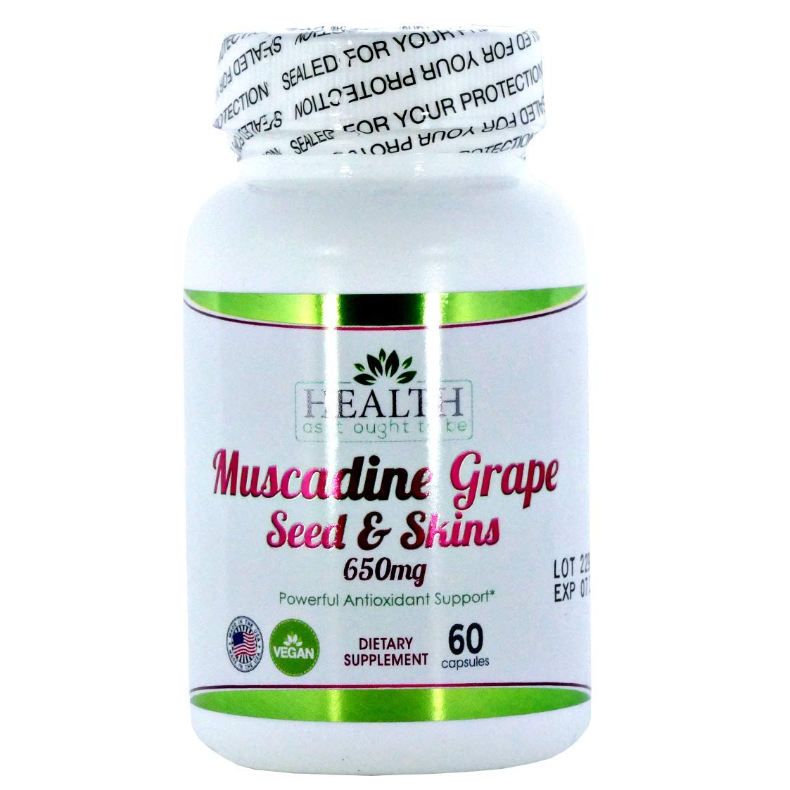 Muscadine Grape Seed & Skins 650 mg 60 Capsules Physician Formulated Powerful Antioxidant Support Beyond The Average Grape