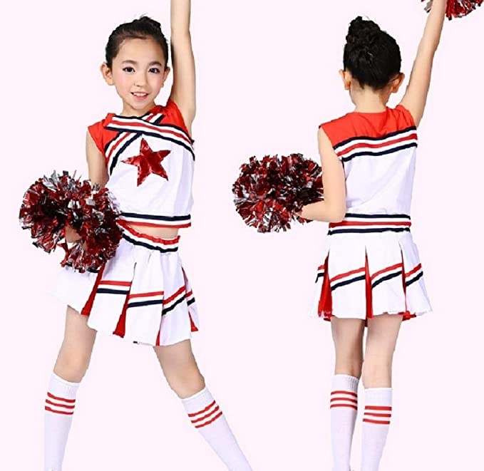 499d754b Girls Cheerleader Uniform Outfit Costume Fun Varsity Brand Youth Red White  Matching Pom poms