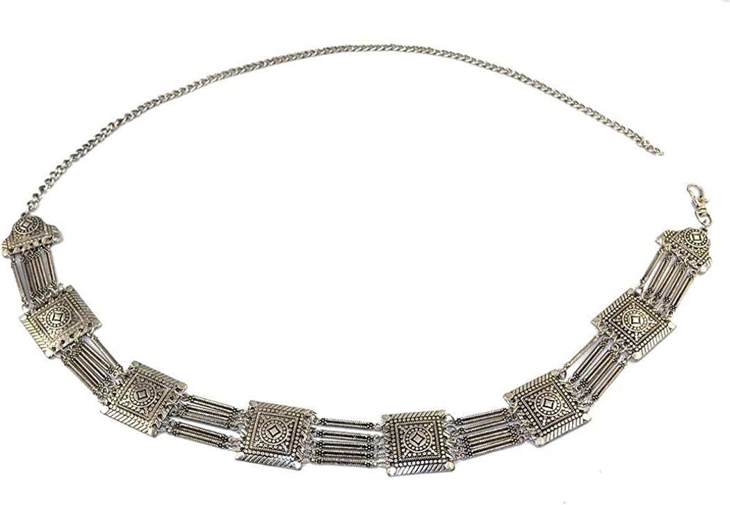 idealway Bohemian Vintage Body Chain Silver Sun Flower Pendant Necklace Belt Chain Women Jewelry 3