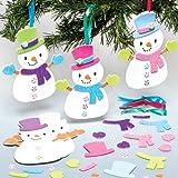 Kit Decorazioni Pupazzi di Neve con Accessori Intercambiabili per Bambini da Creare, Decorare e Appendere all'Albero di Natale (confezione da 6)