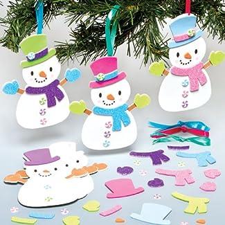 Kits de Bonhommes de Neige Assortis que les Enfants pourront Confectionner, Décorer et Suspendre au Sapin de Noël (Lot de 6)