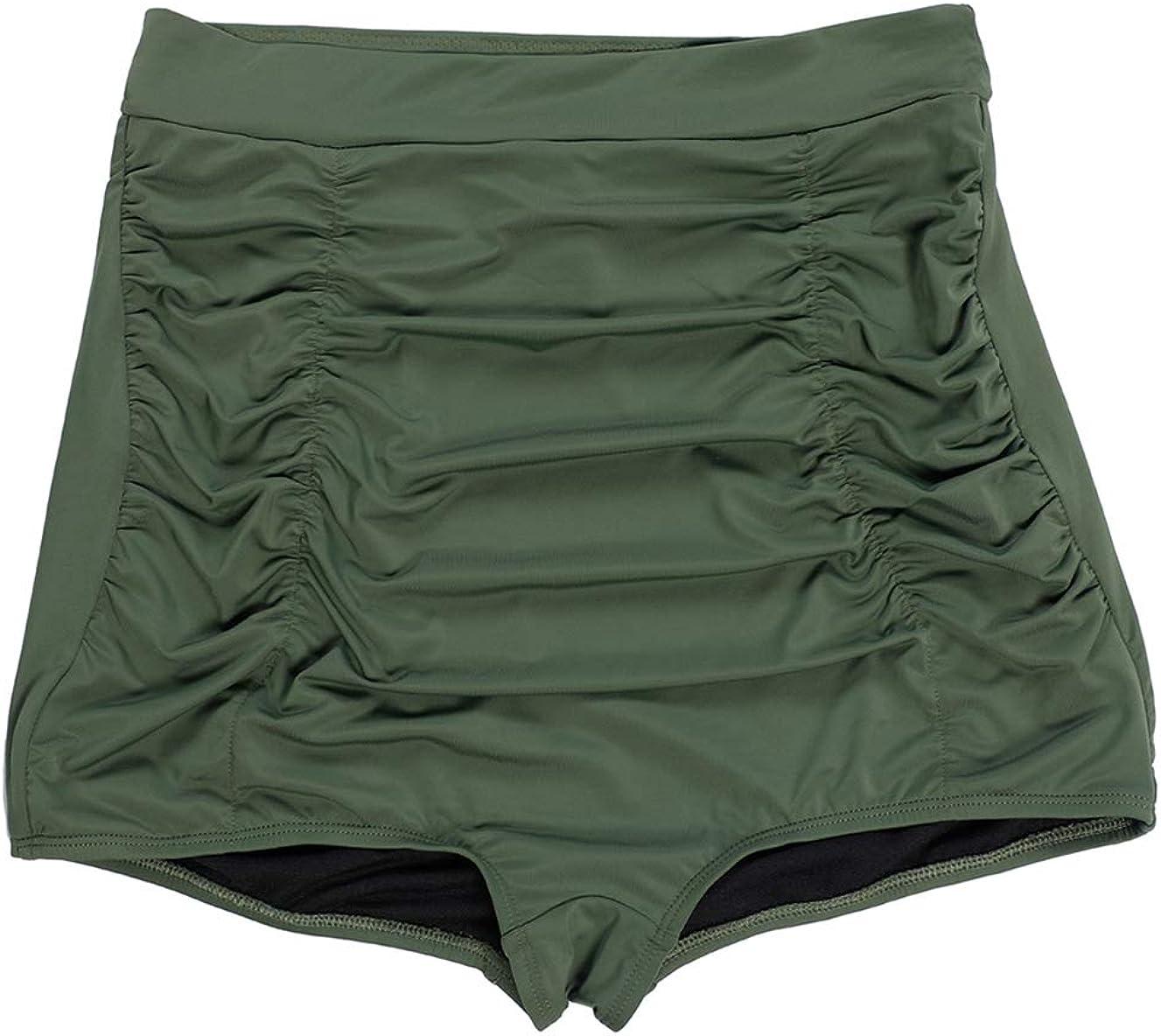 LEINASEN Womens Retro High Waisted Bikini Bottom Ruched Swim Shorts