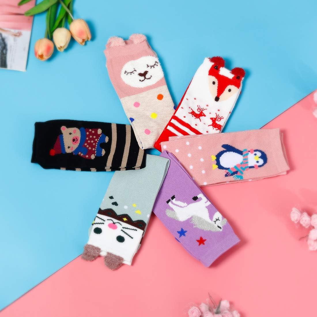 6 Pairs Cute Animal Cartoon Socks One Size BSSN Kids Girls Knee High Socks
