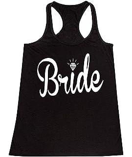 d0c828dcd9f7b Amazon.com  Bride   Bridal Tank Tops - Bridesmaid Maid of Honor ...