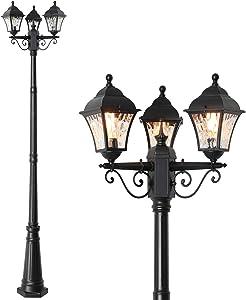 FAISHILAN Outdoor Post Light, 7.55Ft 3-Head Street Lamp, Waterproof LED Pole Light with Acrylic Lampshade, Vintage Post Lamp for Backyard, Patio, Garden, Décor | Black