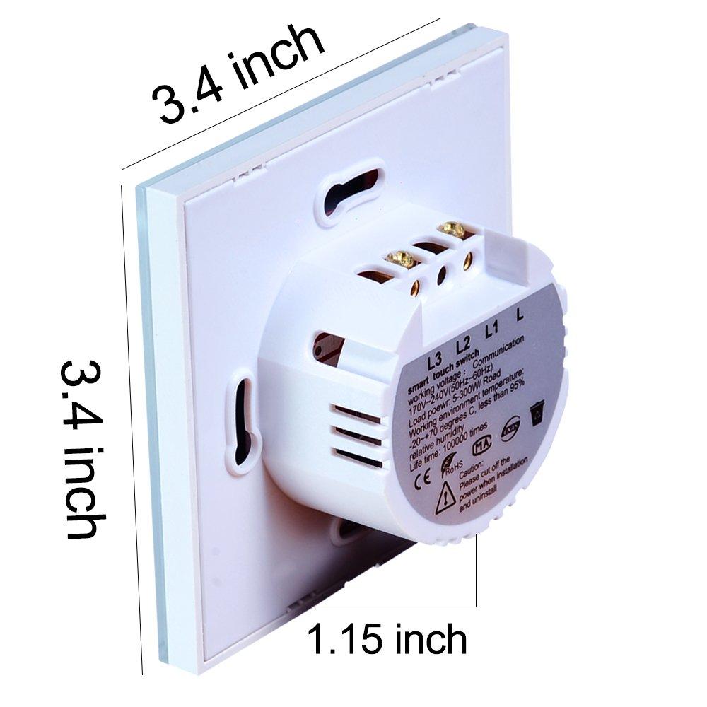 Interruptor Tactil Inteligente de pared, LED Interruptor de luz de pared remoto inalámbrico Trabaja con Alexa y Google Home, Panel táctil de vidrio templado ...