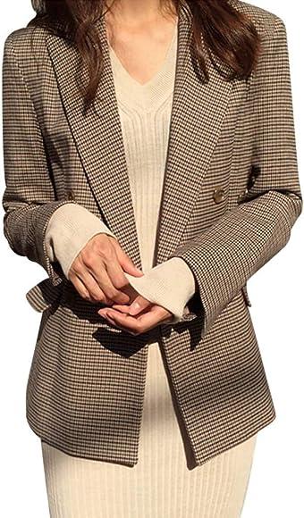 Chaqueta De Mujer Vestido De Manga Larga Solapa Traje De Oficina Chaquetas con Botones