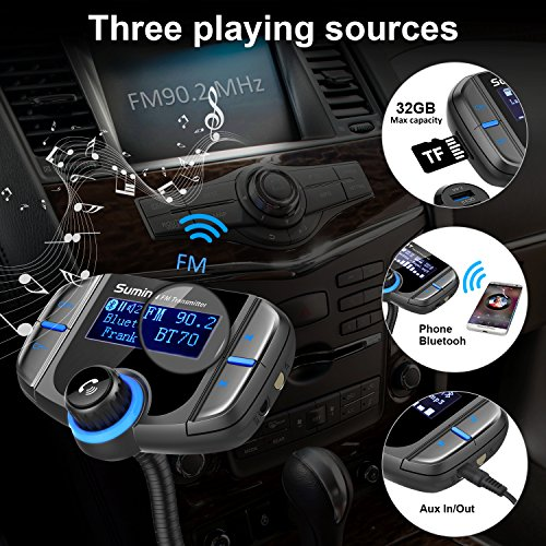 Upgraded-Version-Bluetooth-FM-Transmitter-Sumind-Wireless-Radio-Adapter-Hands-free-Car-Kit-with-17-Inch-Display-QC30-and-Smart-24A-Dual-USB-Ports-AUX-Input-Output-TF-Card-Mp3-Player