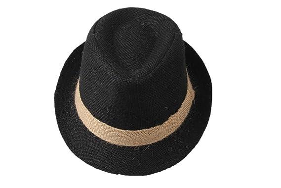 Dantiya Enfant Garçon Chapeau de Soleil Panama Classique de Lin Style  Simple 4 Couleurs (Noir dabe6b4be0e