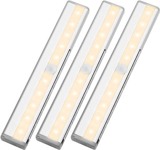 Le Luces Nocturnas Con Sensor Barras Led Para Armario A Pilas 10 Led Blanco Cálido Pack De 3 Amazon Es Iluminación