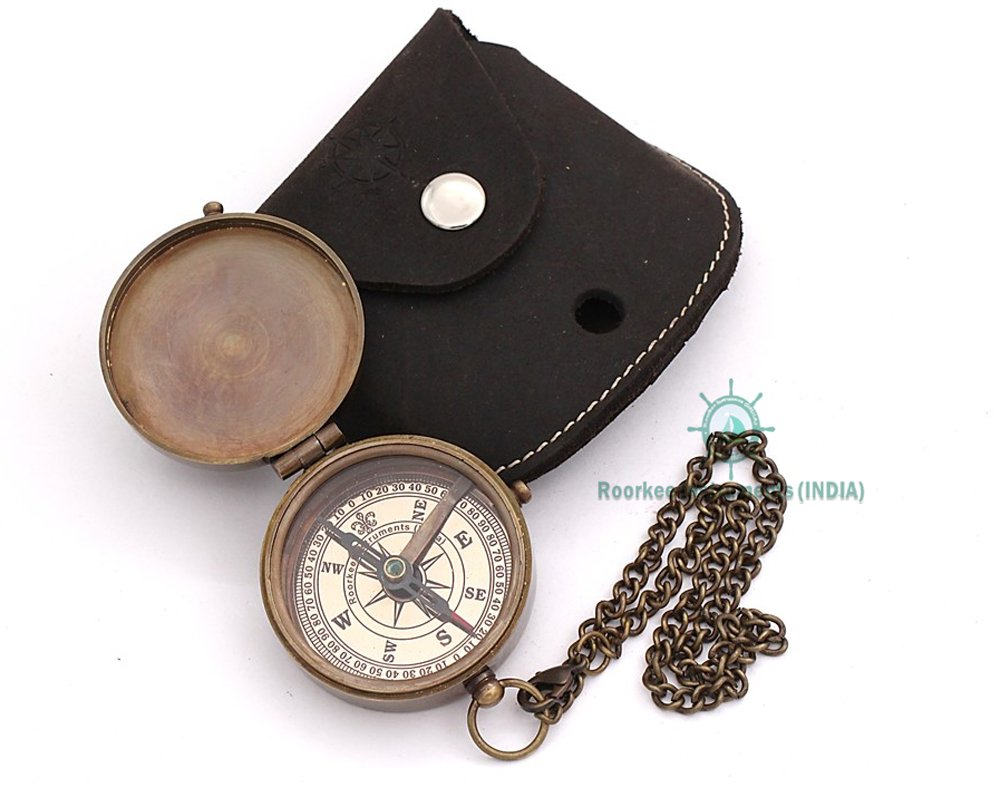 Roorkee Instruments India Engravable Compass, Pocket Compass, Brass Compass with Stamped Oiled Leather Case, Boy Scouts Compass, Eagle Scout Compass, Pirates Compass, Gift Compass, Camping