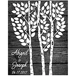Large guestbook tree Alternative Wedding guest book Print for signatures wooden birch tree rustic theme
