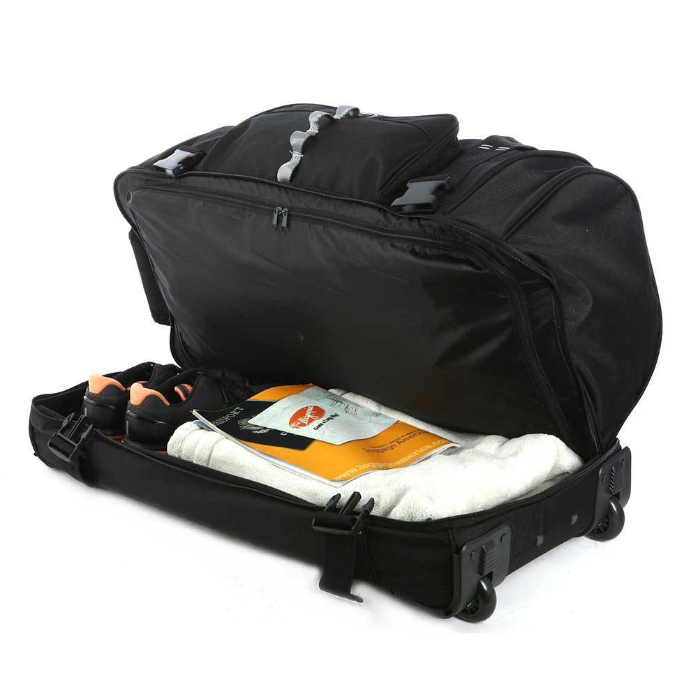 Olympia Sports Plus Drop Bottom Rolling Duffel Bag in Black by Olympia (Image #3)