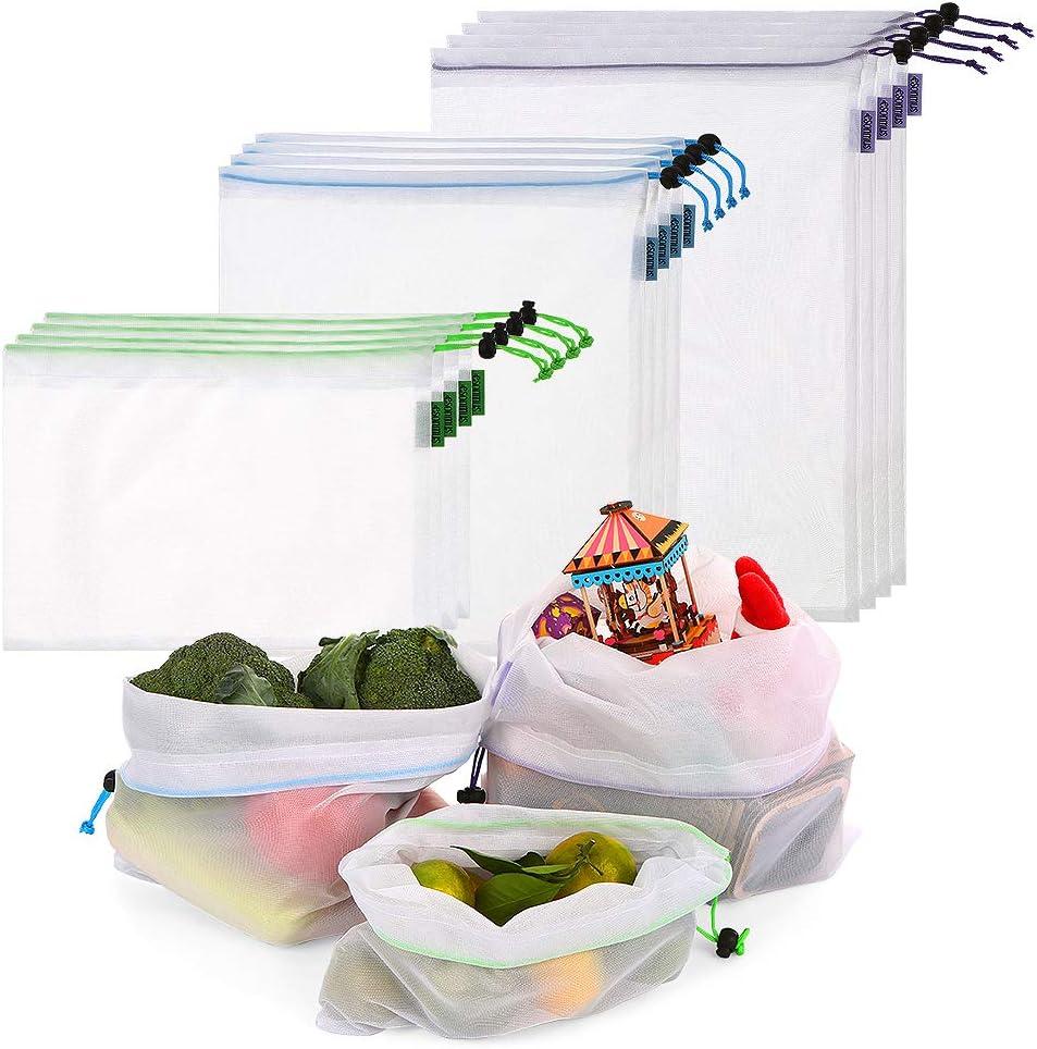 esonmus Bolsas de la Compra Reutilizables 8PCS Bolsas Reutilizables de Productos de Malla Bolsas De Compras para Juguetes De Verduras De Frutas Lavable (Blanco)
