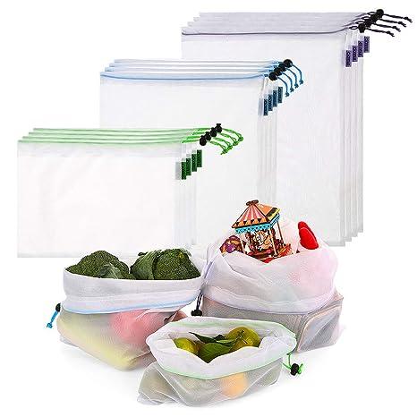 esonmus 12 Bolsas Bolsas de la Compra Reutilizables Fáciles de Limpiar y Reutilizables, utilizadas para almacenar cocinas y Hacer Carreras