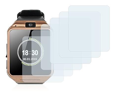 Savvies Protector de Pantalla para Gearmax Smartwatch DZ09 [6 Unidades] - Transparente