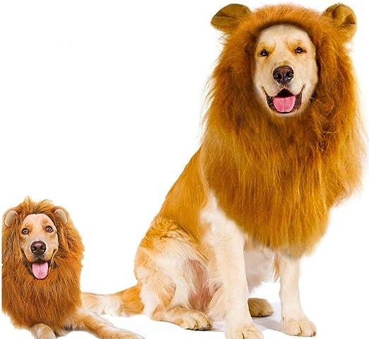 2 piezas de peluca de melena de león con orejas para perro y gato ...