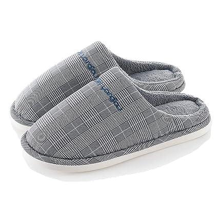 Algodón Zapatilla Pantuflas De Algodón Caliente Slippers Casa Zapatos Zapatillas Letra Plaid Simple Transpirable Antideslizante Resistente