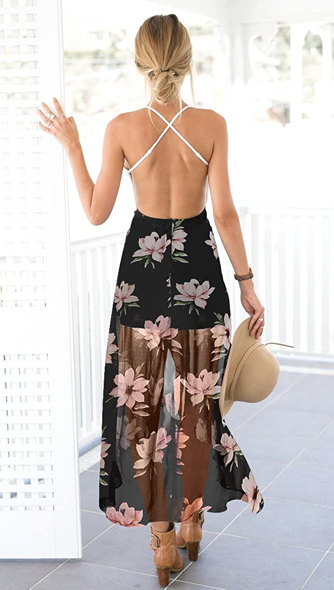e85225823f Blooming Jelly Women s Deep V Neck Sleeveless Summer Asymmetrical Floral  Maxi Dress at Amazon Women s Clothing store