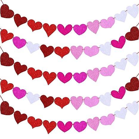 Amazon.com: Guirnalda de fieltro con diseño de corazones ...