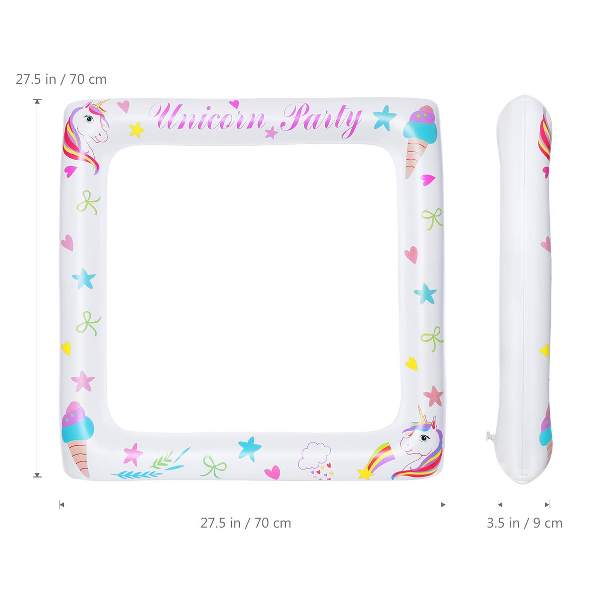 Amosfun Marco de unicornio Accesorios de fotomatón Marco de fiesta inflable para cumpleaños de fiesta de bebé (71x71cm)
