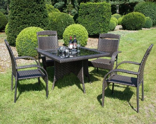 tischgruppe 5tlg dunkelbraun gartenm bel garten tisch. Black Bedroom Furniture Sets. Home Design Ideas