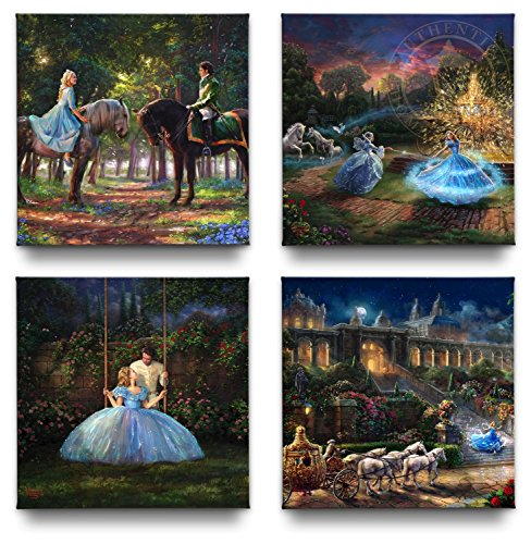 Cinderella Gallery Wrapped Canvases (Set of 4) - 14'' x 14'' Thomas Kinkade Studios Disney Gallery Wrapped Canvases by Thomas Kinkade