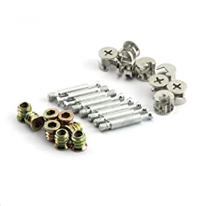 PZRT 8 Sets Furniture Connecting Fittings for Solid Wood/Cork Board,Bolt Cam Connector Fittings with Dowel and Pre-Inserted Nut 3 in 1