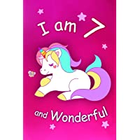 I am 7 and Wonderful: Cute Unicorn 6x9 Activity Journal, Sketchbook, Notebook, Diary Keepsake for Women & Girls! Makes a great gift for her 7th birthday.