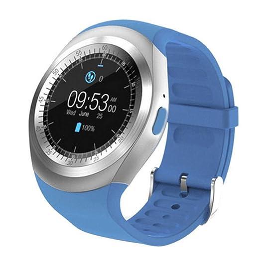 Fossrn Smartwatch,2018 Bluetooth Reloj inteligente Mate completo Redondo Pantalla SIM para Android para iOS (Azul): Amazon.es: Relojes