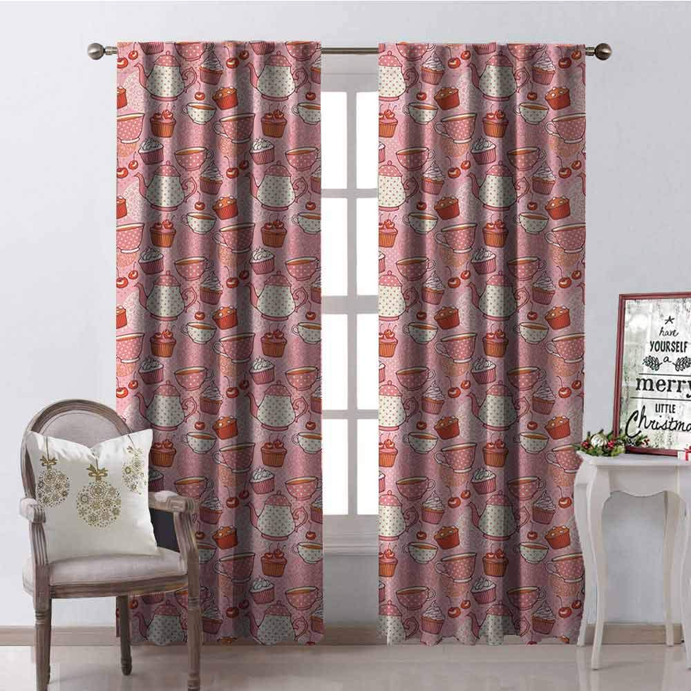 GloriaJohnson Tea Party 99% Blackout Curtains Tea Time Themed Illustration with Cherries and Cupcakes of Many Flavors for Bedroom Kindergarten Living Room W52 x L72 Inch Pink Beige Orange by GloriaJohnson