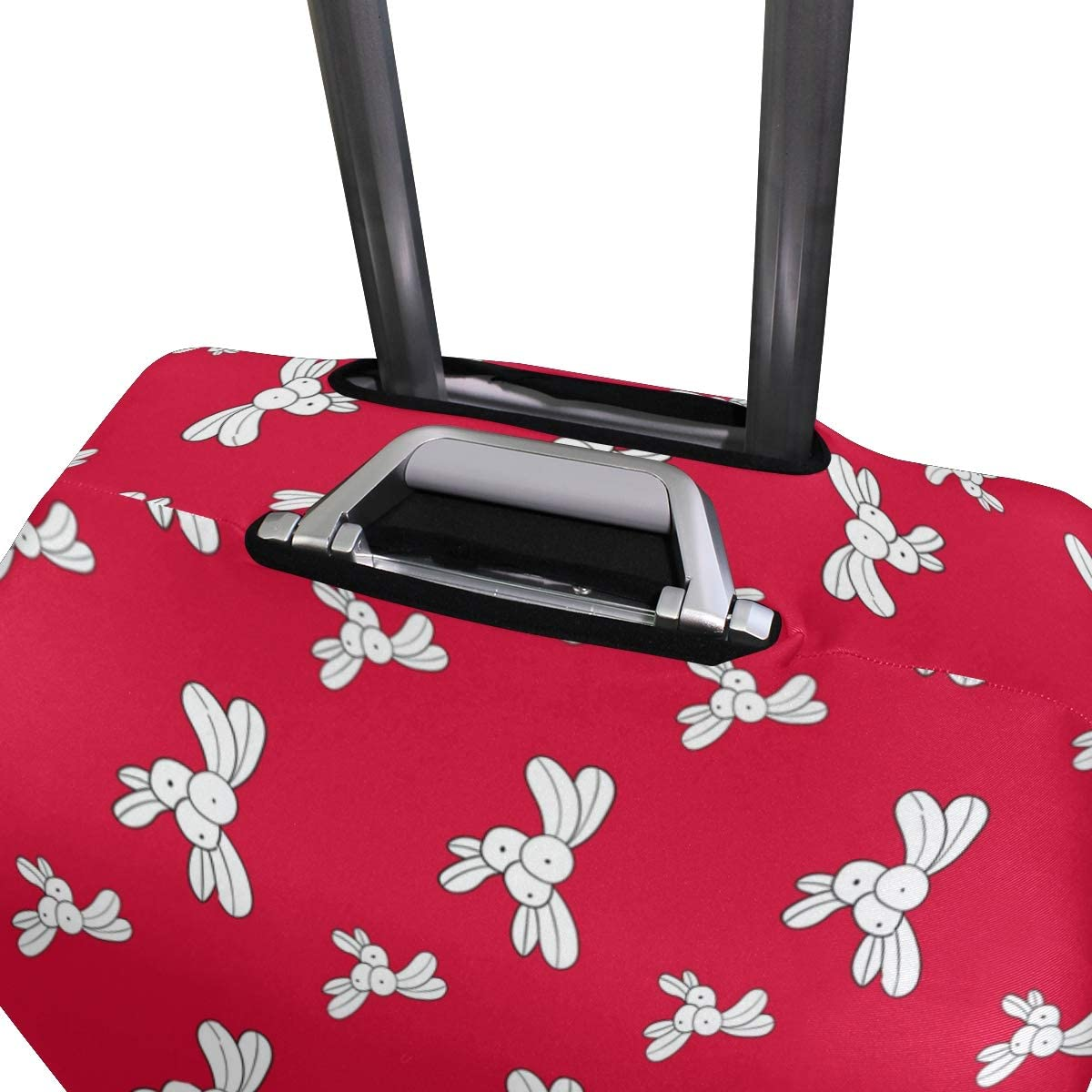 Fashion Travel Christmas Element Background Red Luggage Suitcase Protector Washable Baggage Covers