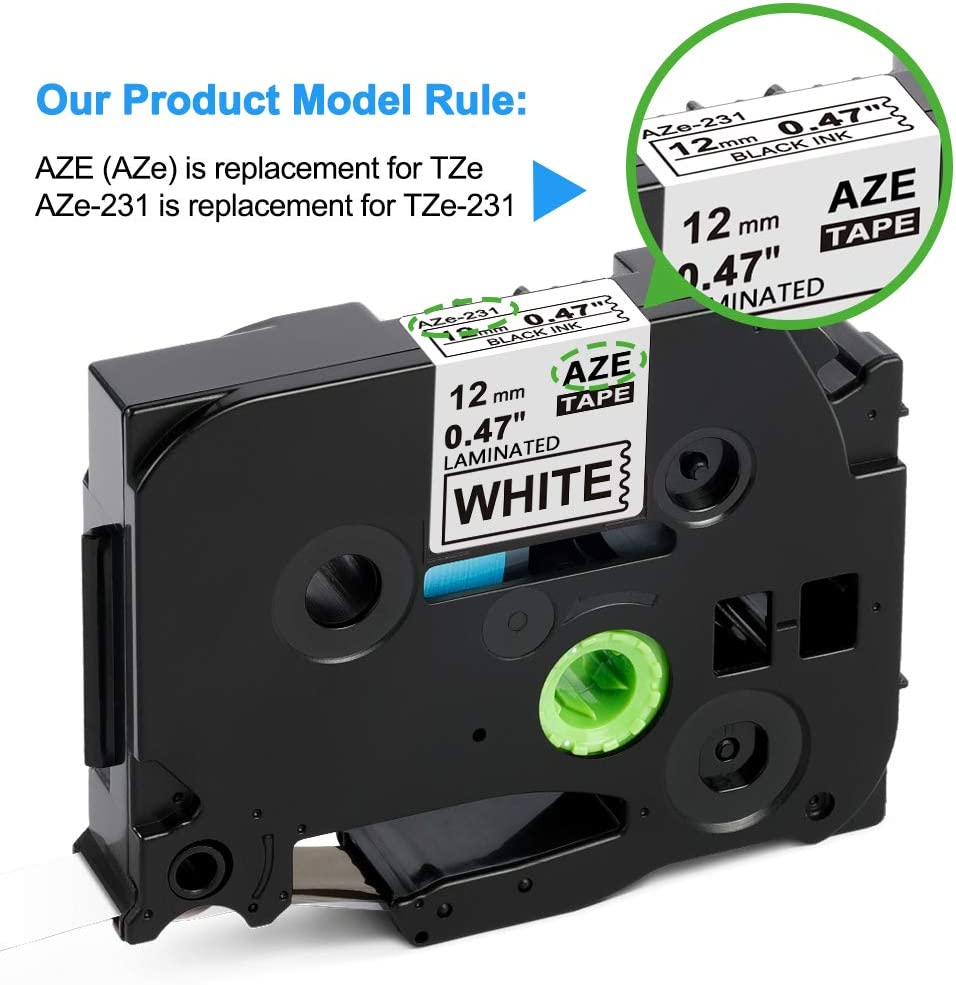 Labelife Compatible Label Tape Replacement for Brother TZe231 Ptouch Tape TZe Label Tape 12mm 0.47 Inch Laminated White Label Maker Tape TZe-231 for P-Touch PTH110 PT-D200 PTD600, 26.2 Feet, 6-Pack: Office Products