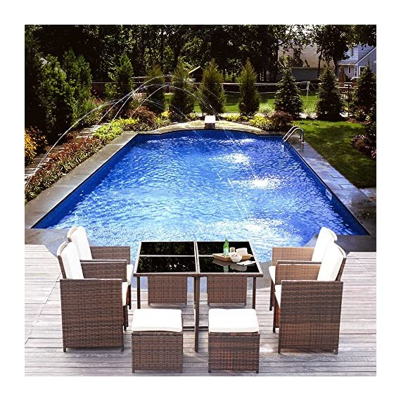 Homall 9 Pieces Patio Dining Sets Outdoor Furniture Patio Wicker Rattan Chairs and Tempered Glass Table Sectional Set Conversation Set Cushioned with Ottoman (Brown) - 【Durable and Beautiful】 All weather-resistant rattan to offer the perfect blend of style and durabilitythe,this outdoor dining set able to fit a variety of living space styles. 【Comfortable cushion】Ergonomically engineered for ultimate comfort,homall stylish rattan chairs come with thick sponged seat cushion and back cushion for more indoor and outdoor use. 【Reposition as your wish】This patio furniture sets clearance made with premium PE rattan.Lightweight and easy to move so you can reposition on a whim.Suit for having a drink with friends. - patio-furniture, dining-sets-patio-funiture, patio - 61Sb7nj3cwL. SS570  -