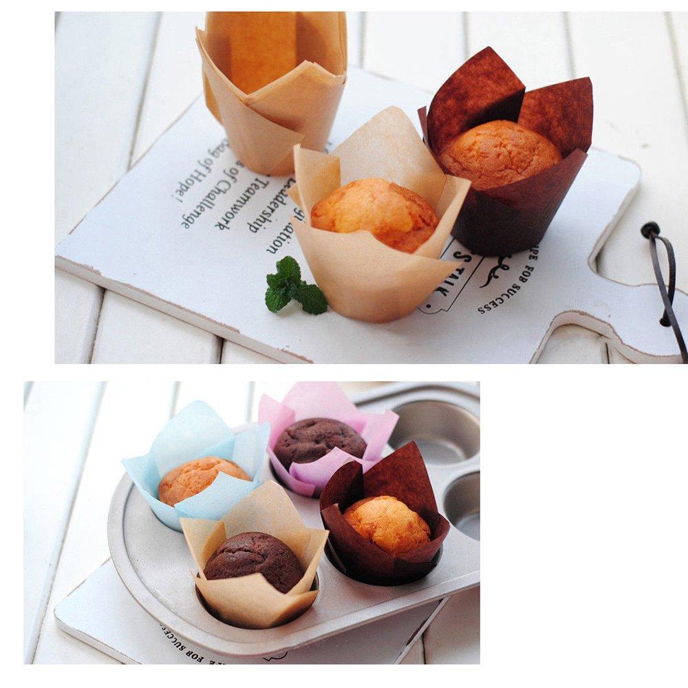 Backformen Muffin Dosen Leckerbecher f/ür Hochzeiten Geburtstage 150 St/ücke Tulpen Backpapier Schalen,Cupcake Muffin Zwischenlagen Wrapper Baby-Duschen,- 2,5 Zoll braun, nat/ürlich und wei/ß