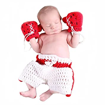 lovely handmade baby boxing gloves knit Clothes Photo Prop clothes