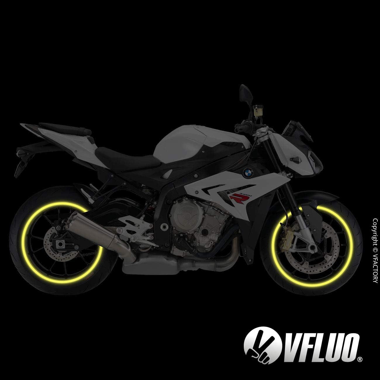 Anchura XL : 10 mm Rayas Retro Reflectantes para Llantas de Moto 1 Rueda 3M Technology/™ Rojo rub/í VFLUO Circular/™ Kit de Cintas
