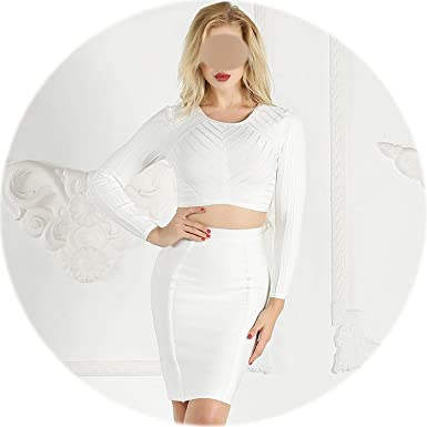 1985c37fa33 Image Unavailable. Image not available for. Color: rather be 2 Piece Women  Dresses Crop Top and Skirt Spring Fashion Bodycon Dress Bandage Long