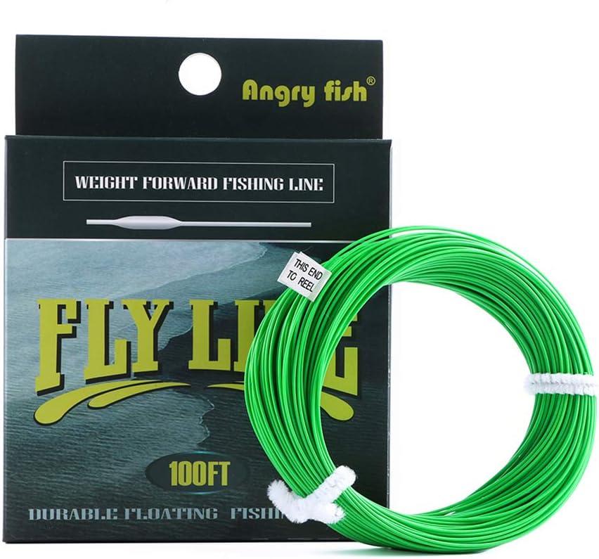 KceEo - Alambre de Pesca WF 5F/6F/7F 100FT Dloating Fly Fishing Line Pesa hacia adelante Flota de Nailon de la línea Tippet Líder de Bucle cónico, Color Verde
