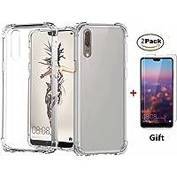Fanxwu Kompatibel mit Huawei Mate 20 Hülle Klar Transparent Weich TPU Silikon [2*Gehärtetes Glas Schutzfolie] Luftkissen-Design Schutzhülle Anti-Kratzer Schützend Case