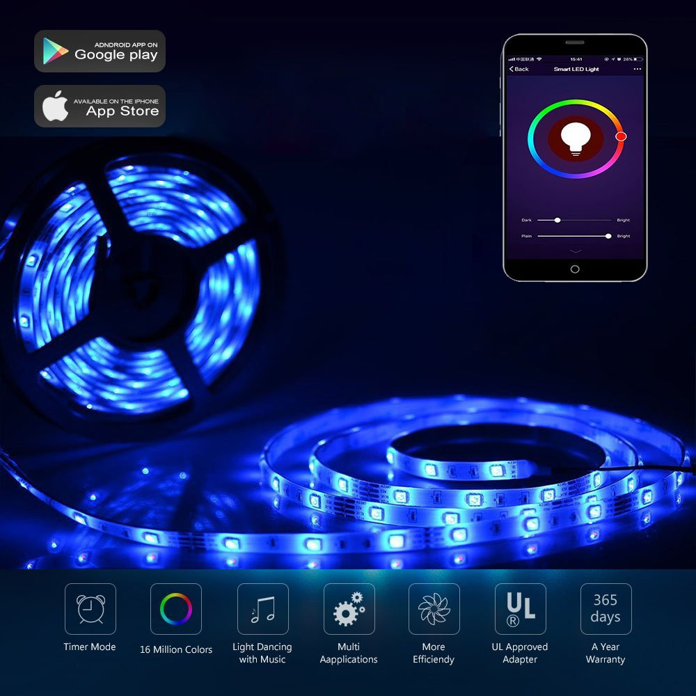 Wifi LED Lights Strip work with Amazon Alexa, Waterproof RGB 5M SMD5050 LED Strip Light Music Light,APP Control & IR Remote Control Work with Alexa Support Timer Voice/Music Control DC12V