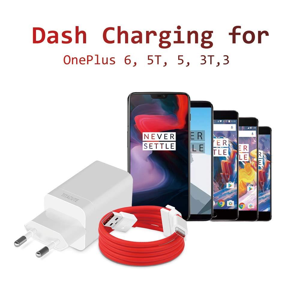 TITACUTE Dash Cargador para OnePlus 6, Fast Charge Power Bundle con 3.3 FT/100 cm de Tipo C Cable de Carga rápida Fuente para OnePlus 5T 5 3T 3, vooc ...