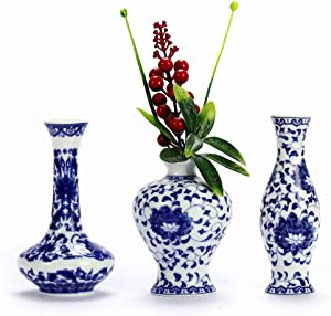 Small Ceramic Flower Vases Set of 3, Blue and White Porcelain Vases Set, Art Fambe Glaze Porcelain Vases Set, Decorative Vase for Home Decor Classic Chinese Bottle Vase (Blue & White Porcelain Set)