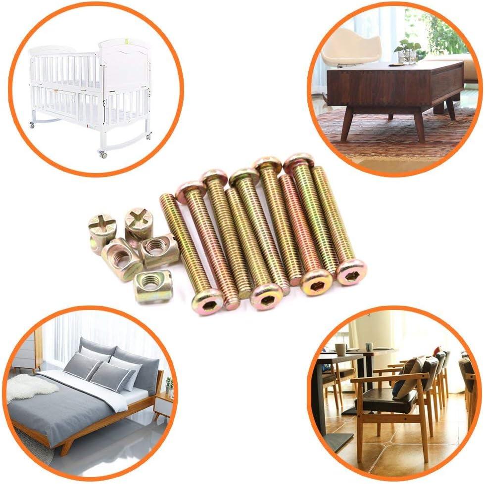 M6/x 15/mm Plaqu/é zinc Douille hexagonale capuchon meubles Corps Vis Boulon /Écrous Assortiment kit pour meubles Lit de berceau et chaises